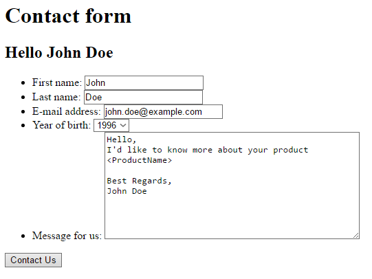 Screenshot -- Form for logged user