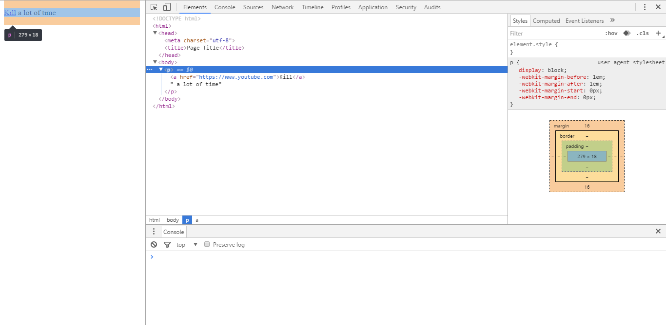 Screenshot -- HTML structure