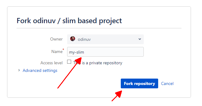 Screenshot - Fork repository - Step 3