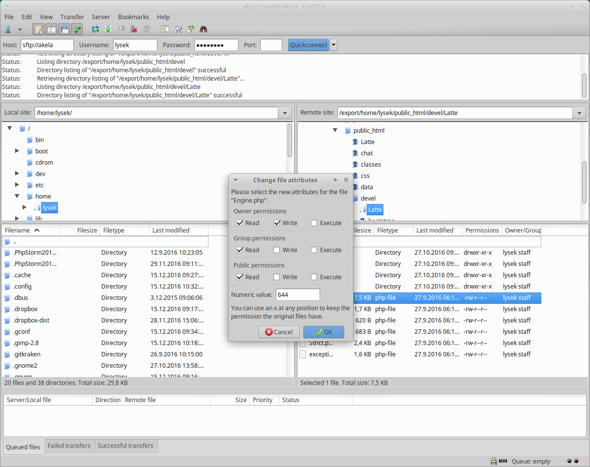 FileZilla file attributes